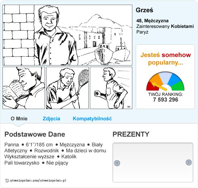 Profil Grzesia Polaka na portalu randkowym