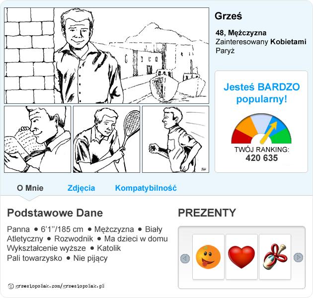 Bardzo popularny profil Grzesia Polaka na portalu randkowym