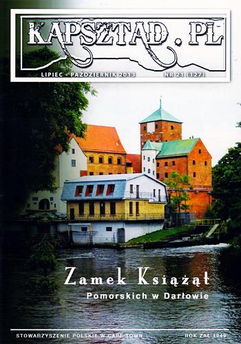 Strona tytułowa magazynu Stowarzyszenia Polskiego w Kapsztadzie - Kapsztad.pl. Wydanie lipiec-pażdziernik 2013, nr 21.