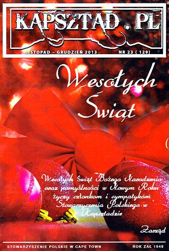 Strona tytułowa magazynu Stowarzyszenia Polskiego w Kapsztadzie - Kapsztad.pl. listopad-grudzień 2013, nr 23.