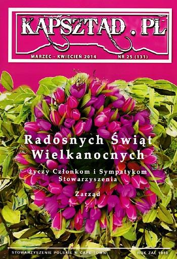 Strona tytułowa magazynu Stowarzyszenia Polskiego w Kapsztadzie - Kapsztad.pl, marzec-kwiecień 2014, nr 25.