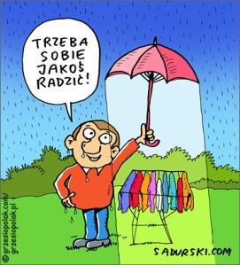 Suszenie prania w deszczu