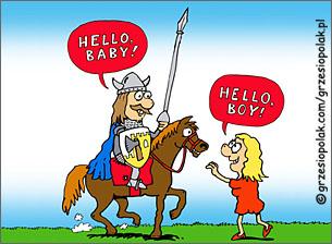 Szarmancki rycerz na koniu i babe