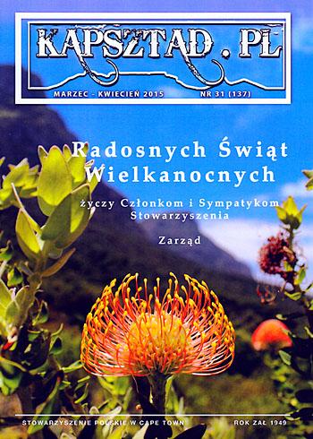 Strona tytułowa magazynu Stowarzyszenia Polskiego w Kapsztadzie - Kapsztad.pl - marzec-kwiecień 2015, nr 31