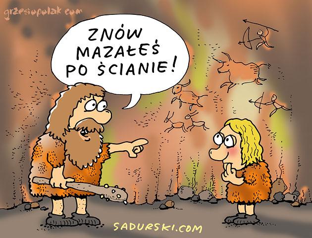Jaskiniowcy i mazanie po murach